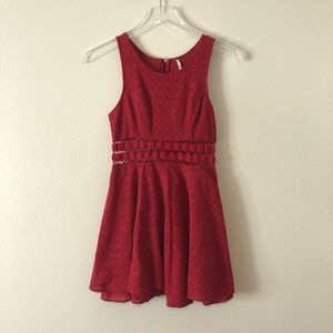 Free People Red Flower Cut-Out Detail Mini Dress